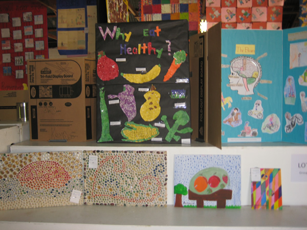 Display with healthy foods and the title,