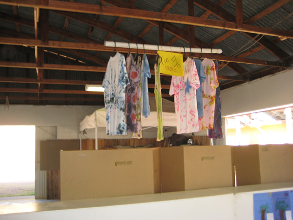 Shirts which have gone through the tie dye process.