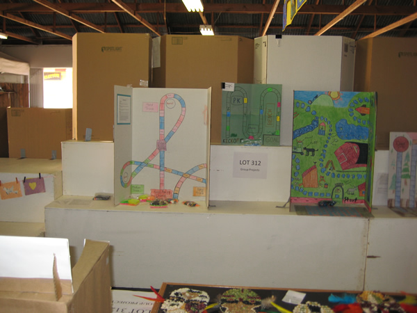 Display of student made game boards.