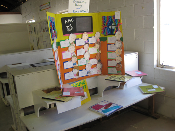 A board of student made poetry.