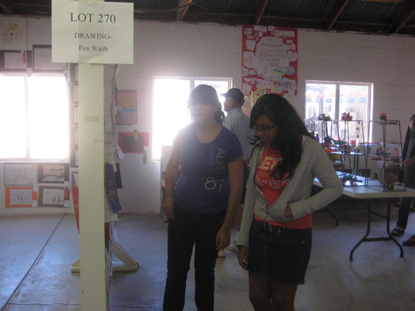 Two girls look at the Pen Wash Drawings done by the students.