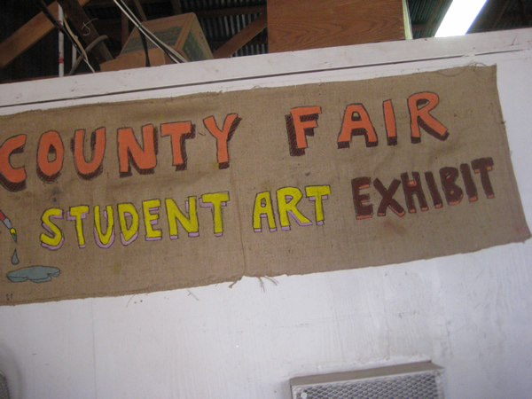 Entrance for the County Fair's Student Art Exhibit.